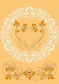 Openwork frame with orange flowers — Stock Vector