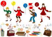 Fretta di scolaro a scuola. — Vettoriale Stock
