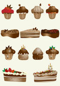 Tasty and decorated pastries cupcakes and pies — Stock Vector