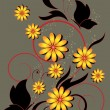 Butterfly and yellow flowers with floral pattern — Imagen vectorial