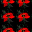 Poppies on a black seamless background — Stock Vector #21862641