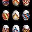 Collection of painted patterned Easter eggs — Stock Vector