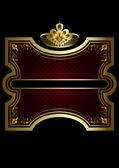 Montatura in oro con una corona d'oro su sfondo bordeaux lucido — Vettoriale Stock