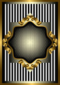 Silver frame with gold decor on striped background — Stock Vector