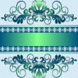 Satin green ornament with stripes and ribbon — Stock Vector