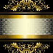 Gold ornament and gold stripes with ribbon — Stock Vector