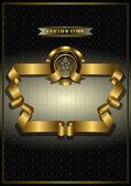 Gold frame for awards on patterned dark backgroundbanner gold — Stock Vector
