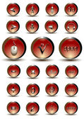 Collection of red glossy buttons — ストックベクタ