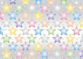 Colored stars on silvery background — Stock Vector