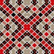 Motley red brown white squares on beige seamless background — ストックベクタ