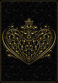 Gold openwork pattern in the form of heart — Stock vektor