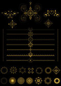 Gold borders and ornaments on black background — Vettoriale Stock