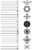 Collection borders and ornaments on white background — Stock Vector