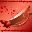Brilliantly tape with hearts in framed of red hearts — Stock Vector
