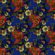 Red pasley and light green flowers on a blue background — Cтоковый вектор