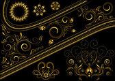 Desen ve tasarım detayları ile altın sınır — Stok Vektör