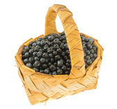 Fresh bilberry in a wattled basket. — Stock Photo