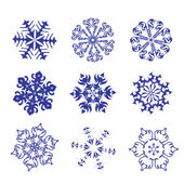 Set of blue snowflakes on a white background. — Stock Vector
