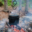 Stock Photo: Boiling water in kettle on fire