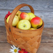 Stock Photo: Fresh ripe apples in basket.