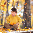 Cute five years old boy having fun in autumn park — Stock Photo #14131960