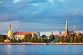 View of Riga Castle, Cathedral, St. Peter's Church — Stock Photo