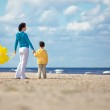 Mother and little son with balloons on the beach — Stock Photo #14656109