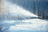 Working snow cannon — Stock Photo