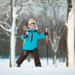 Cute little boy skiing on cross — Stock Photo #20500821