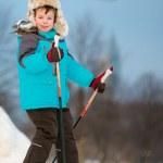 Portrait of cute little boy skiing on cross — Stock Photo #20500827