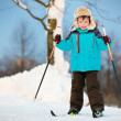 Happy little boy skiing on cross — Stock Photo #20500833