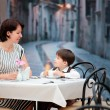Mother and son having lunch together — Stock Photo