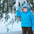 Portrait of a little boy playing in winter forest — Stock Photo #20500903