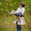 Mother and son enjoying time at spring park — Stock Photo