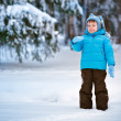 Cute little boy playing on winter forest — Stock Photo