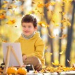 Cute five years old boy having fun in autumn park — Stock Photo #35742981