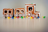 Christmas train made of gingerbread — Stock Photo