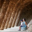 Young mother and her son walking Park Guell — Stock Photo