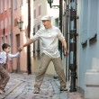 Father and son having fun outdoors in city — Stock Photo