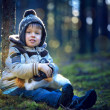 Portrait of little boy outdoors on cold day — Stock Photo #38809495