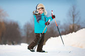 Cute little boy skiing on cross — Stock Photo