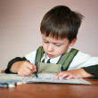 Young boy doing his homework at home — Stock Photo