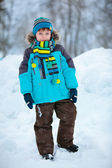 Portrait of cute little boy in winter clothes — Stockfoto