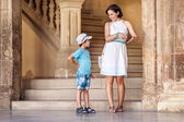 Mother and son visiting Alhambra palace — Stock Photo