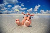 Little boy on exotic beach vacation — Stock Photo