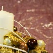 Candle christmas decoration — Stock Photo