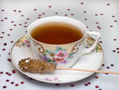 Cup of tea and sugar — Stock Photo