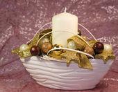 Decorative christmas candleholder — Stock Photo