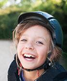 Girl in helmet for horseriding — Stock Photo