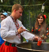 Festival of Ukrainian borscht — Stock Photo